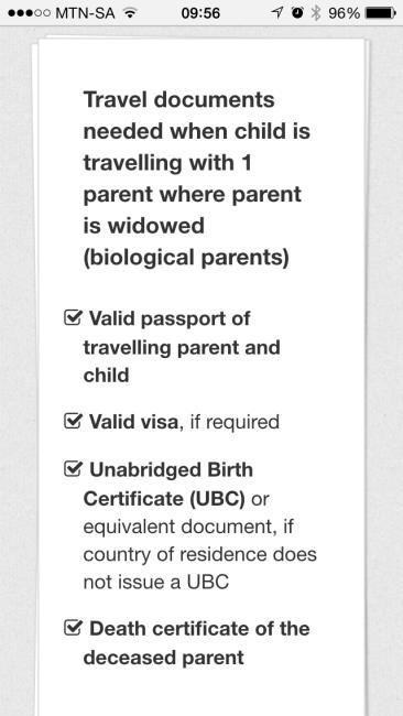 South Africa child visa